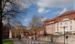 Münster, Blick von Sarvatiikirchplatz zu Erbdrostenhof und St. Clemens